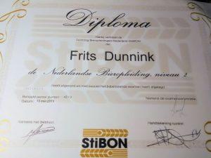 diploma StiBON 2 van Frits Dunink