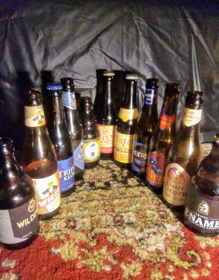 Verzameling tripel bieren van Belgische brouwers