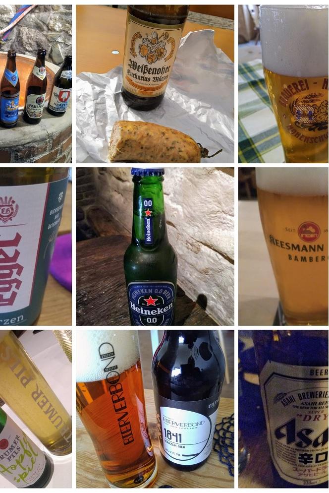 collage van wereldwijde lagerbieren