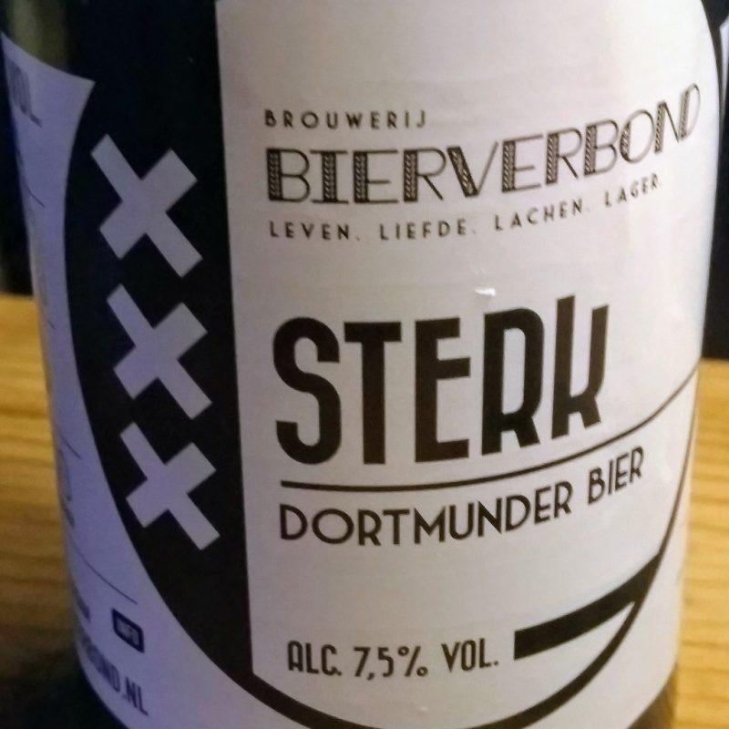 Etiket van het bier Sterk, Dortmunder gebrouwen door brouwerij Bierverbond