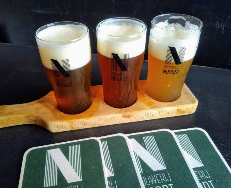 proefplankje met bieren van de Rotterdamse brouwerij Noordt.