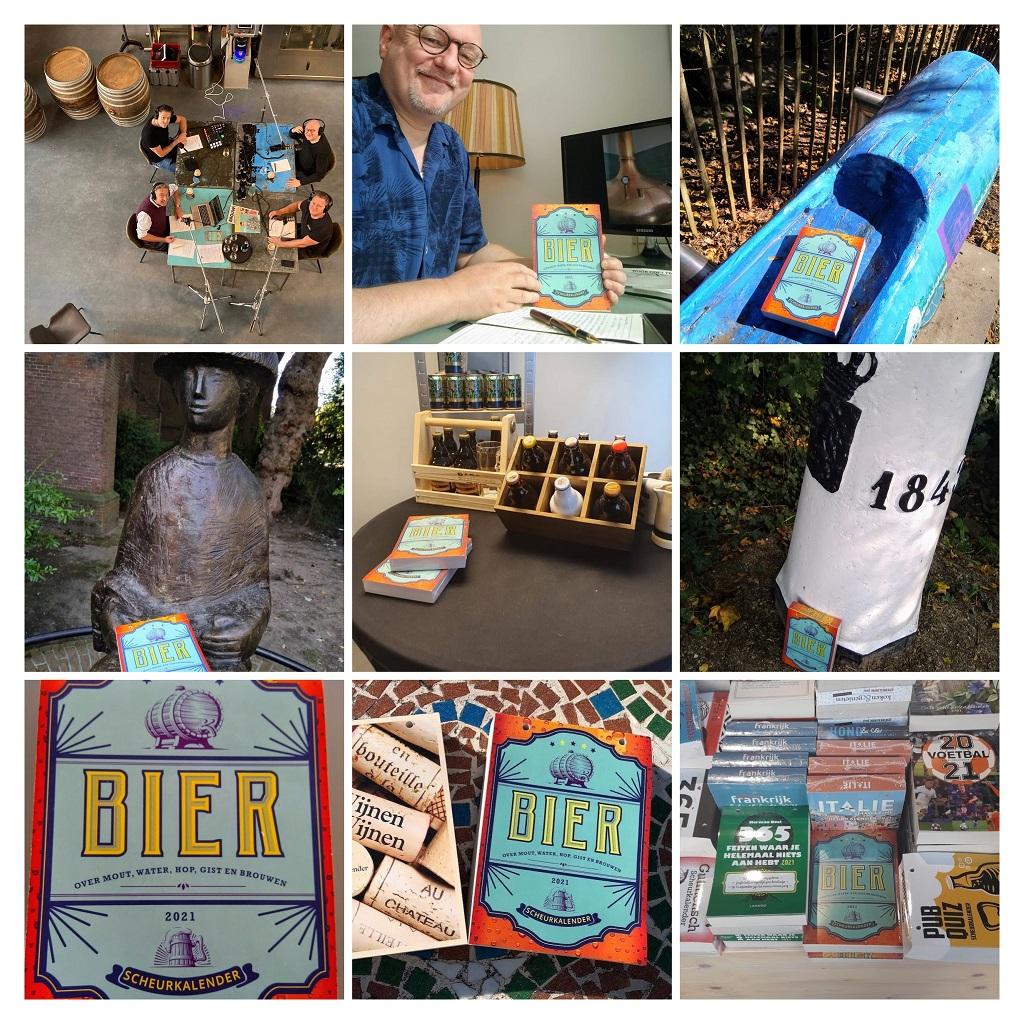 collage met foto's betrekking hebbend op de bier-scheurkalender 2021