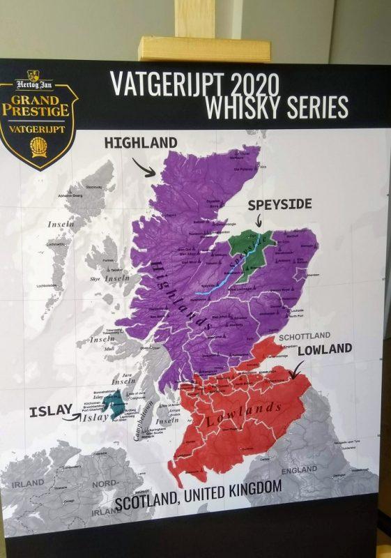 Kaart van Schotland met de vier whiskyregio's