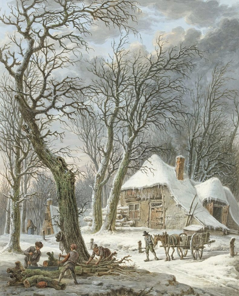 winter landschap van Pieter Pieterz Barbiers (1759-1842)