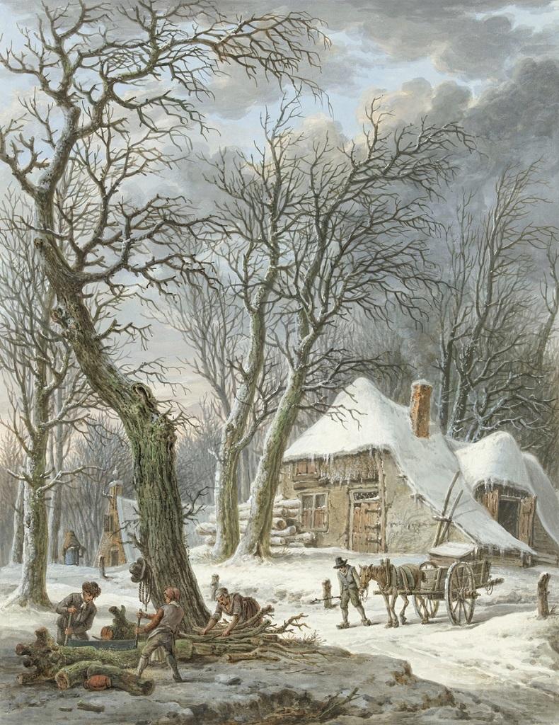 winter landschap van Pieter Pieterz Barbiers (1759-1842)