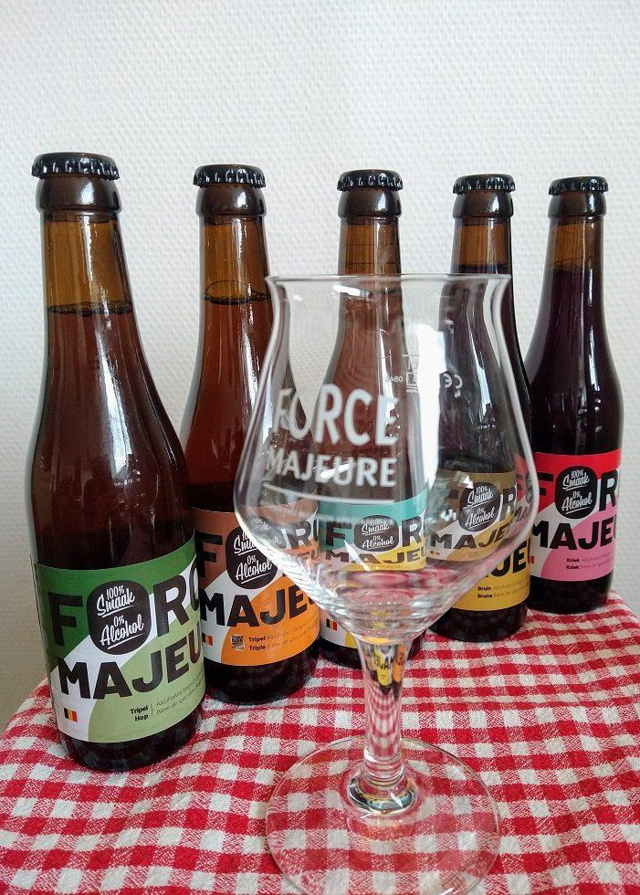 Het assortiment van Force Majeure, de enige exclusief alcoholvrije brouwerij van België