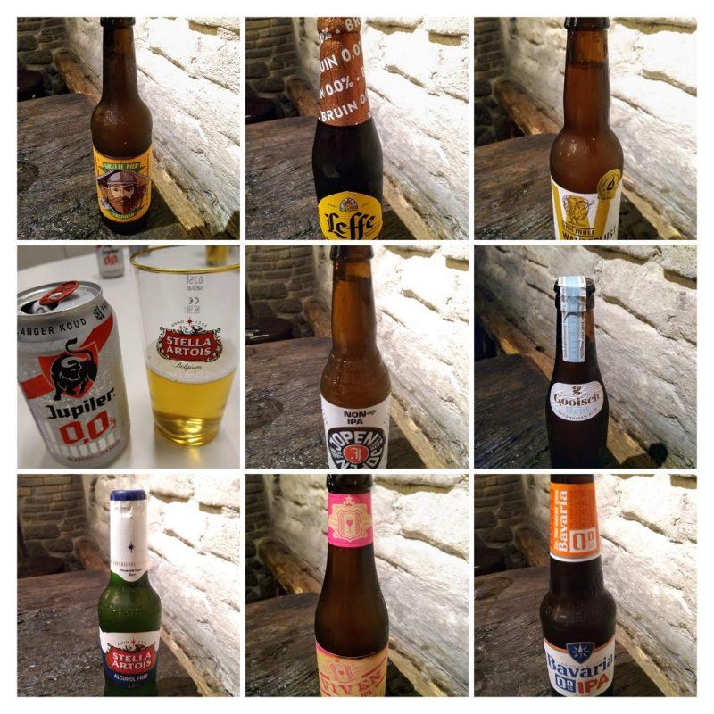 collage van alcoholvrij bieren uit Nederland en België