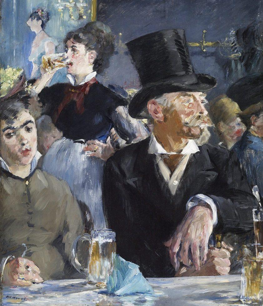 reproductie van een schilderij van Edouard Manet dat bierdrinkende mensen afbeeldt